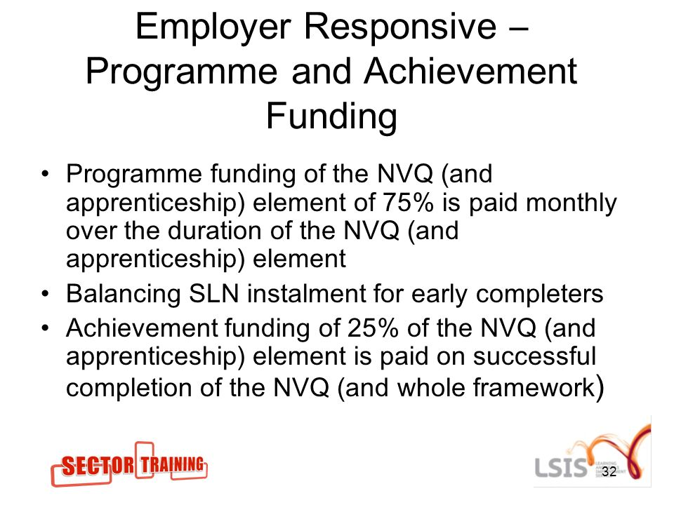 32 Employer Responsive – Programme and Achievement Funding Programme funding of the NVQ (and apprenticeship) element of 75% is paid monthly over the duration of the NVQ (and apprenticeship) element Balancing SLN instalment for early completers Achievement funding of 25% of the NVQ (and apprenticeship) element is paid on successful completion of the NVQ (and whole framework )