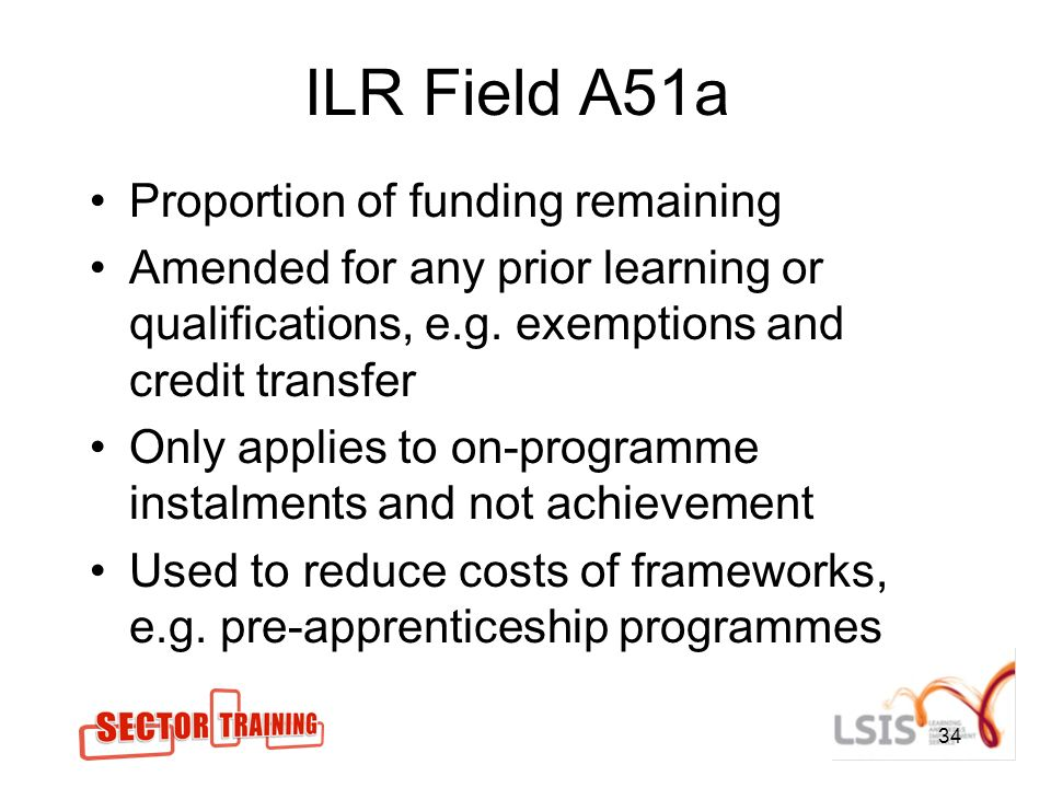 ILR Field A51a Proportion of funding remaining Amended for any prior learning or qualifications, e.g.