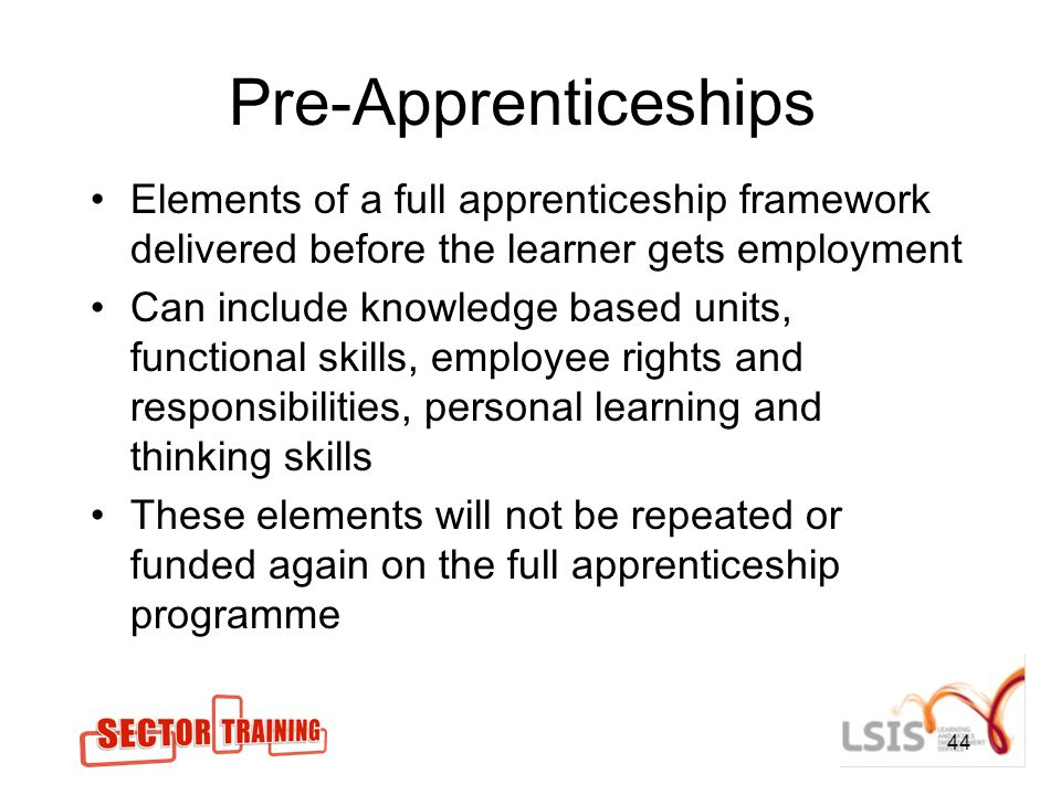 Pre-Apprenticeships Elements of a full apprenticeship framework delivered before the learner gets employment Can include knowledge based units, functional skills, employee rights and responsibilities, personal learning and thinking skills These elements will not be repeated or funded again on the full apprenticeship programme 44