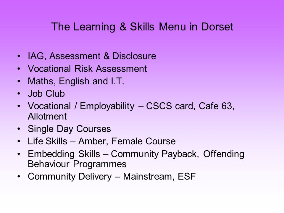 The Learning & Skills Menu in Dorset IAG, Assessment & Disclosure Vocational Risk Assessment Maths, English and I.T.