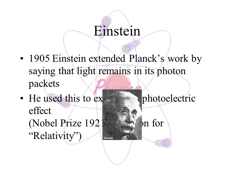 Einstein 1905 Einstein extended Plancks work by saying that light remains in its photon packets He used this to explain the photoelectric effect (Nobel Prize 1921 – not won for Relativity)