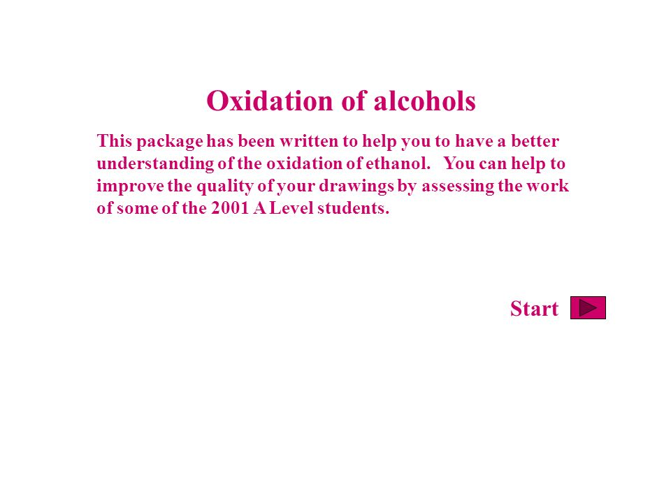 Oxidation of alcohols This package has been written to help you to have a better understanding of the oxidation of ethanol. You can help to improve th