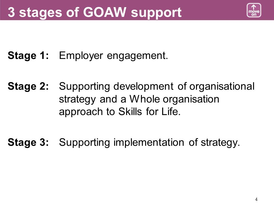 4 3 stages of GOAW support Stage 1: Employer engagement.