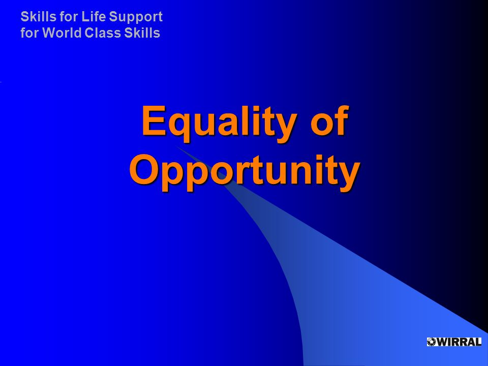 Skills for Life Support for World Class Skills Equality of Opportunity