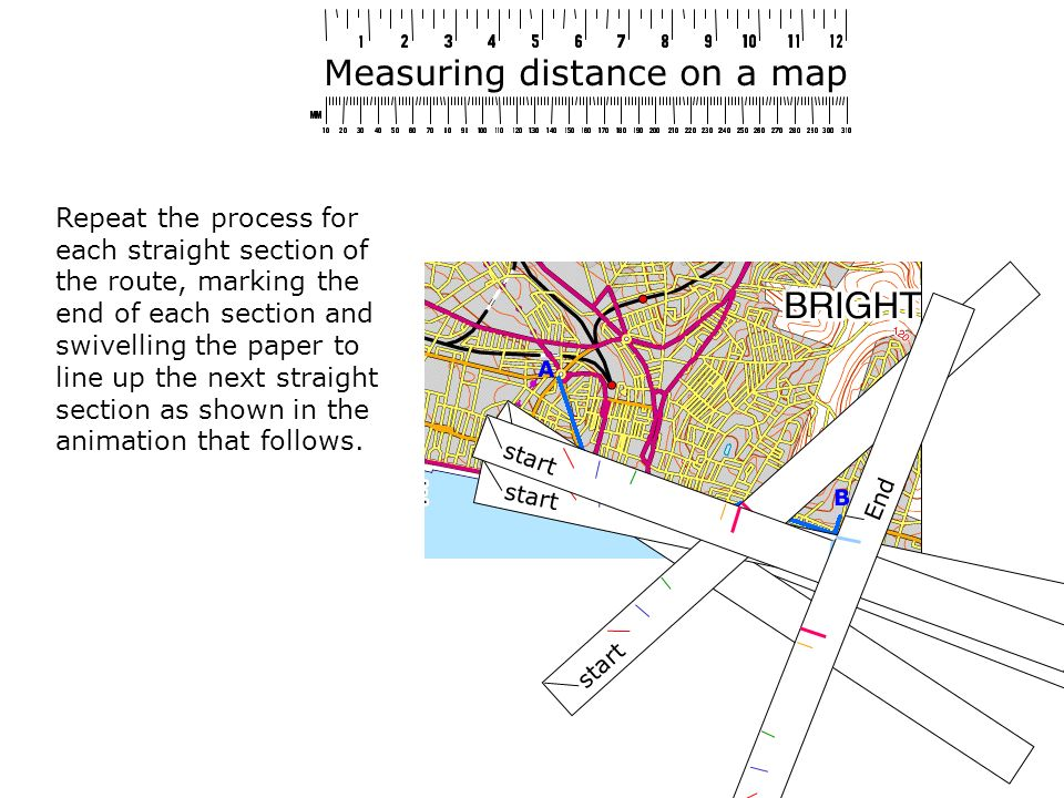 Measuring distance on a map Repeat the process for each straight section of the route, marking the end of each section and swivelling the paper to line up the next straight section as shown in the animation that follows.