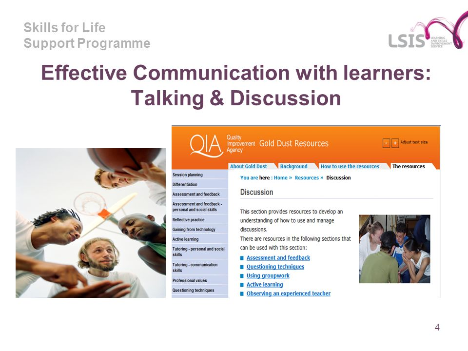 Skills for Life Support Programme Effective Communication with learners: Talking & Discussion 4