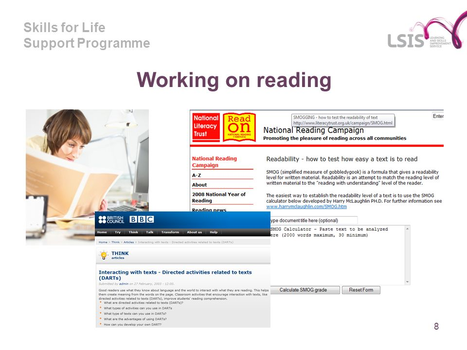 Skills for Life Support Programme Working on reading 8