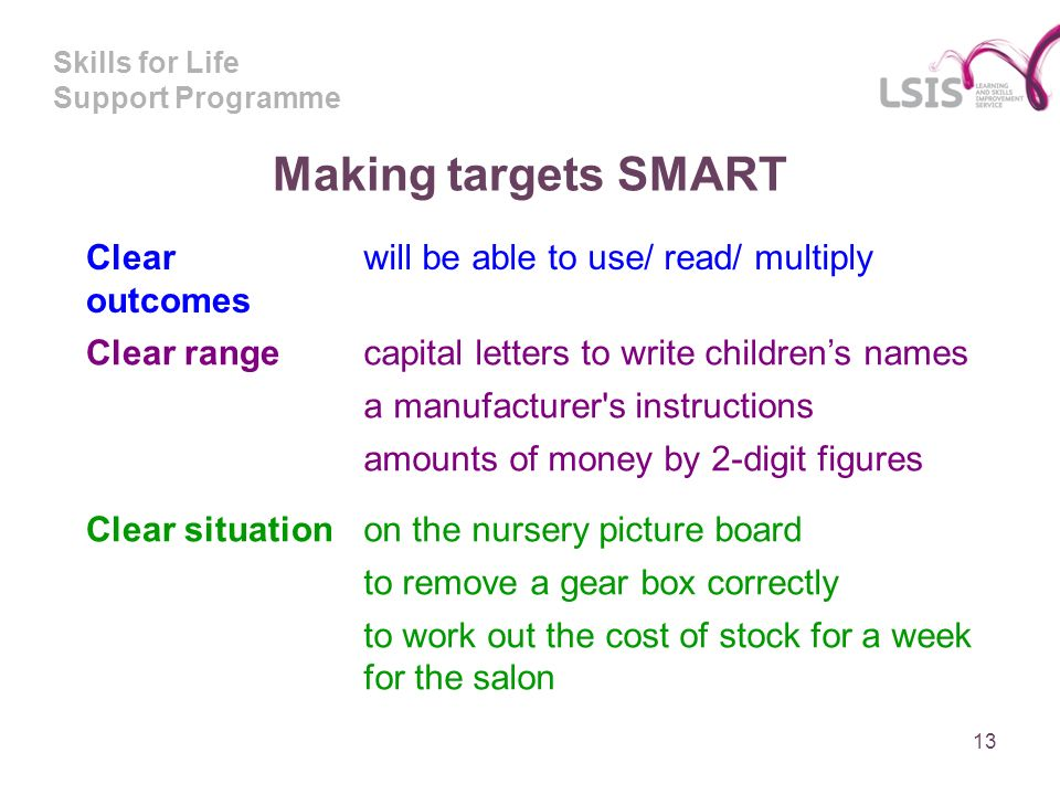 Skills for Life Support Programme Making targets SMART 13 Clear outcomes will be able to use/ read/ multiply Clear rangecapital letters to write childrens names a manufacturer s instructions amounts of money by 2-digit figures Clear situationon the nursery picture board to remove a gear box correctly to work out the cost of stock for a week for the salon