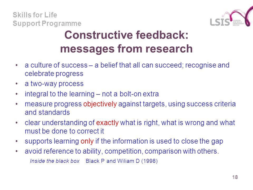 Skills for Life Support Programme Constructive feedback: messages from research a culture of success – a belief that all can succeed; recognise and celebrate progress a two-way process integral to the learning – not a bolt-on extra measure progress objectively against targets, using success criteria and standards clear understanding of exactly what is right, what is wrong and what must be done to correct it supports learning only if the information is used to close the gap avoid reference to ability, competition, comparison with others.