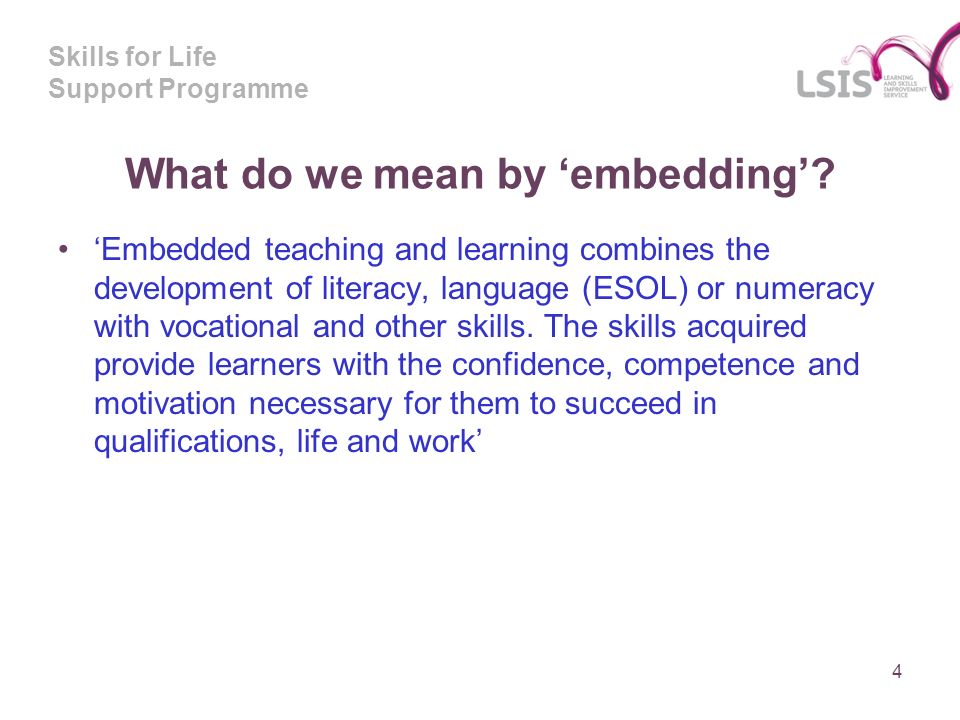 Skills for Life Support Programme What do we mean by embedding.