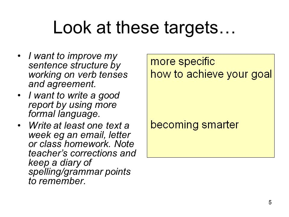 5 Look at these targets… I want to improve my sentence structure by working on verb tenses and agreement.