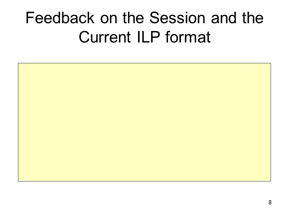 8 Feedback on the Session and the Current ILP format