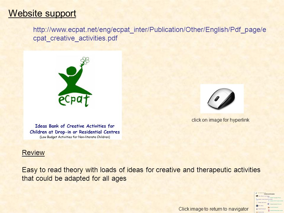 click on image for hyperlink Website support Review Easy to read theory with loads of ideas for creative and therapeutic activities that could be adap