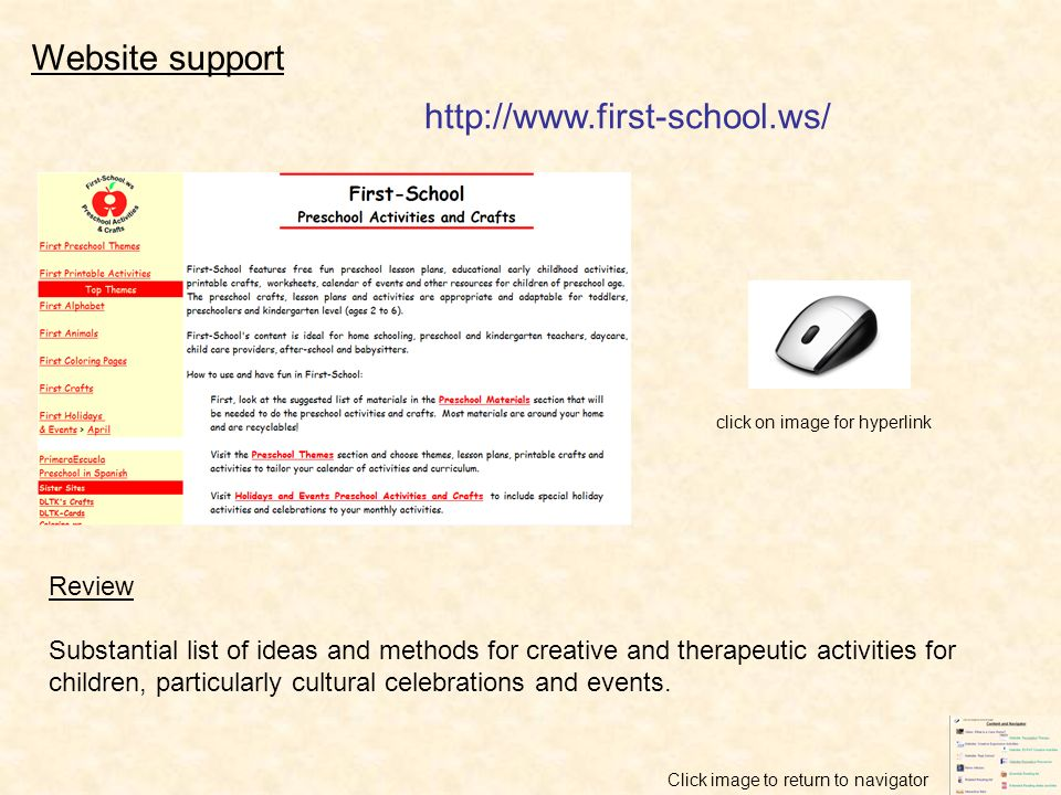 Review Substantial list of ideas and methods for creative and therapeutic activities for children, particularly cultural celebrations and events. clic