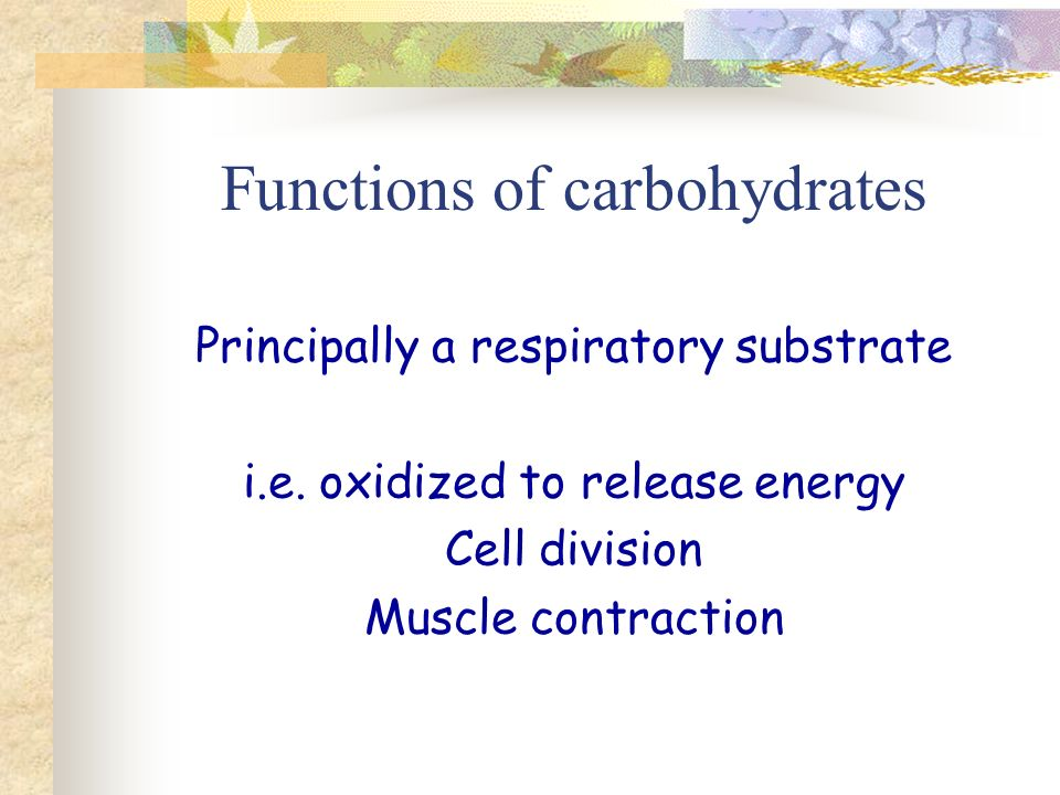 Functions of carbohydrates Principally a respiratory substrate i.e.