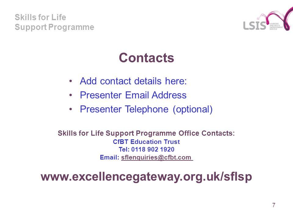 Skills for Life Support Programme Contacts Add contact details here: Presenter Email Address Presenter Telephone (optional) Skills for Life Support Pr