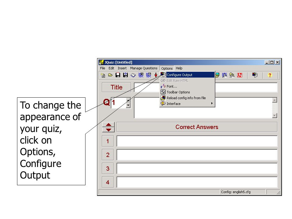To change the appearance of your quiz, click on Options, Configure Output