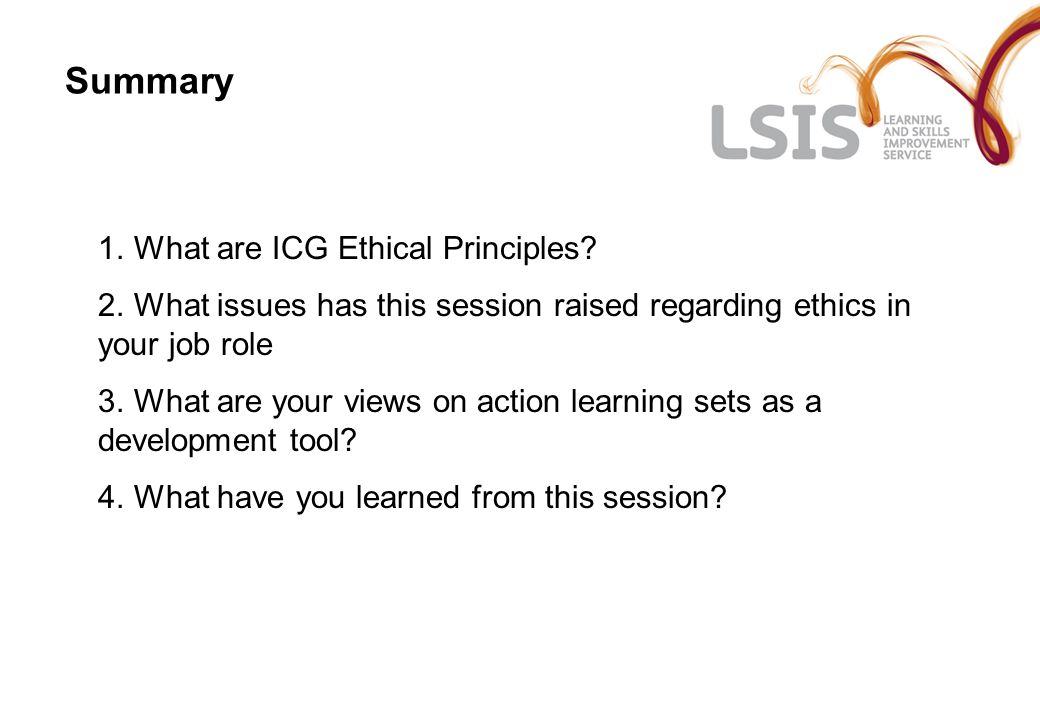 Summary 1. What are ICG Ethical Principles. 2.