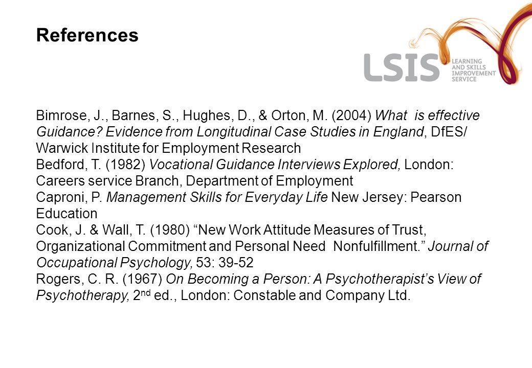 References Bimrose, J., Barnes, S., Hughes, D., & Orton, M.