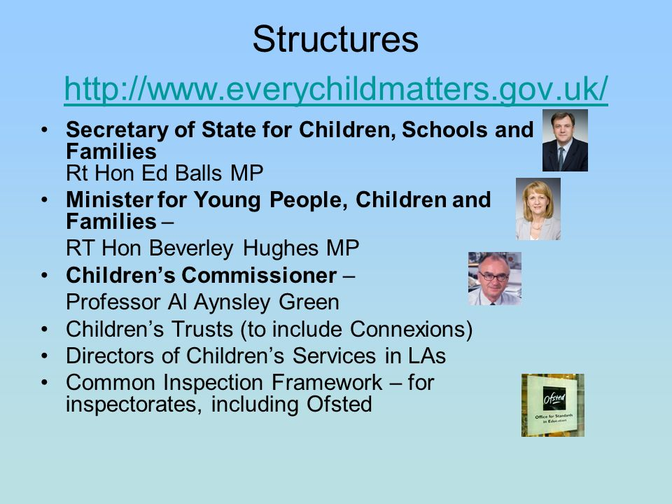 Structures http://www.everychildmatters.gov.uk/ http://www.everychildmatters.gov.uk/ Secretary of State for Children, Schools and Families Rt Hon Ed Balls MP Minister for Young People, Children and Families – RT Hon Beverley Hughes MP Childrens Commissioner – Professor Al Aynsley Green Childrens Trusts (to include Connexions) Directors of Childrens Services in LAs Common Inspection Framework – for inspectorates, including Ofsted