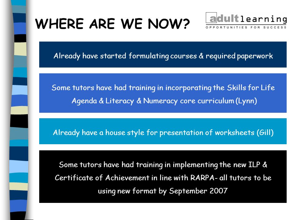 Already have started formulating courses & required paperwork Some tutors have had training in incorporating the Skills for Life Agenda & Literacy & N