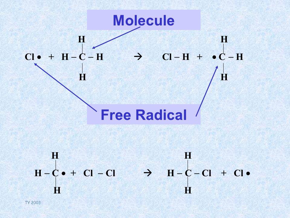 TY 2003 Molecule H Cl + H C H H Free Radical H Cl H + C H H H C + Cl Cl H H C Cl + Cl H