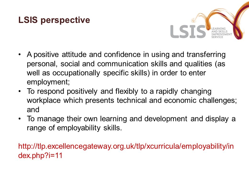 LSIS perspective A positive attitude and confidence in using and transferring personal, social and communication skills and qualities (as well as occu