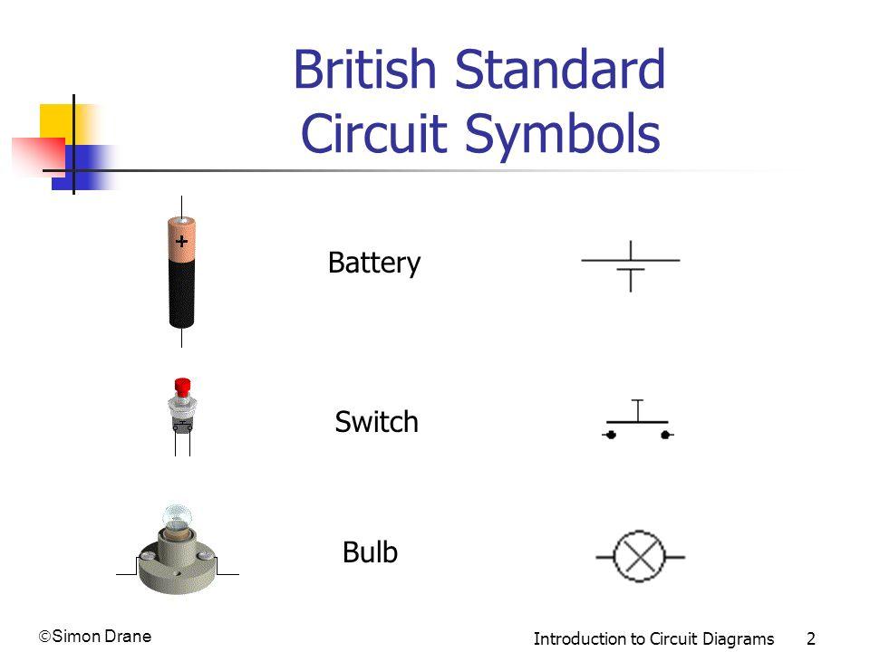 Simon Drane Introduction to Circuit Diagrams 2 British Standard Circuit Symbols Bulb Switch Battery