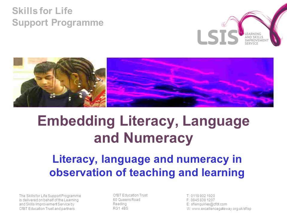 Skills for Life Support Programme Aim The session aims: to explore and develop organisational systems and processes for observation of teaching and learning which address inclusive learning approaches and embedding literacy, language and numeracy.