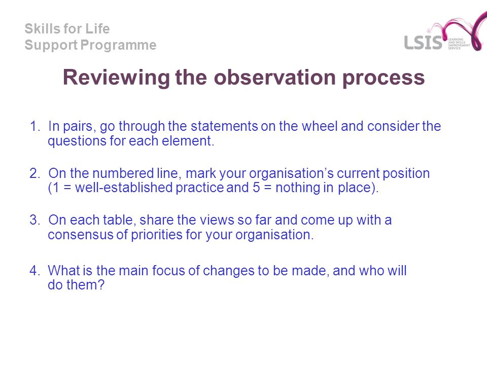 Skills for Life Support Programme Reviewing the observation process 1.