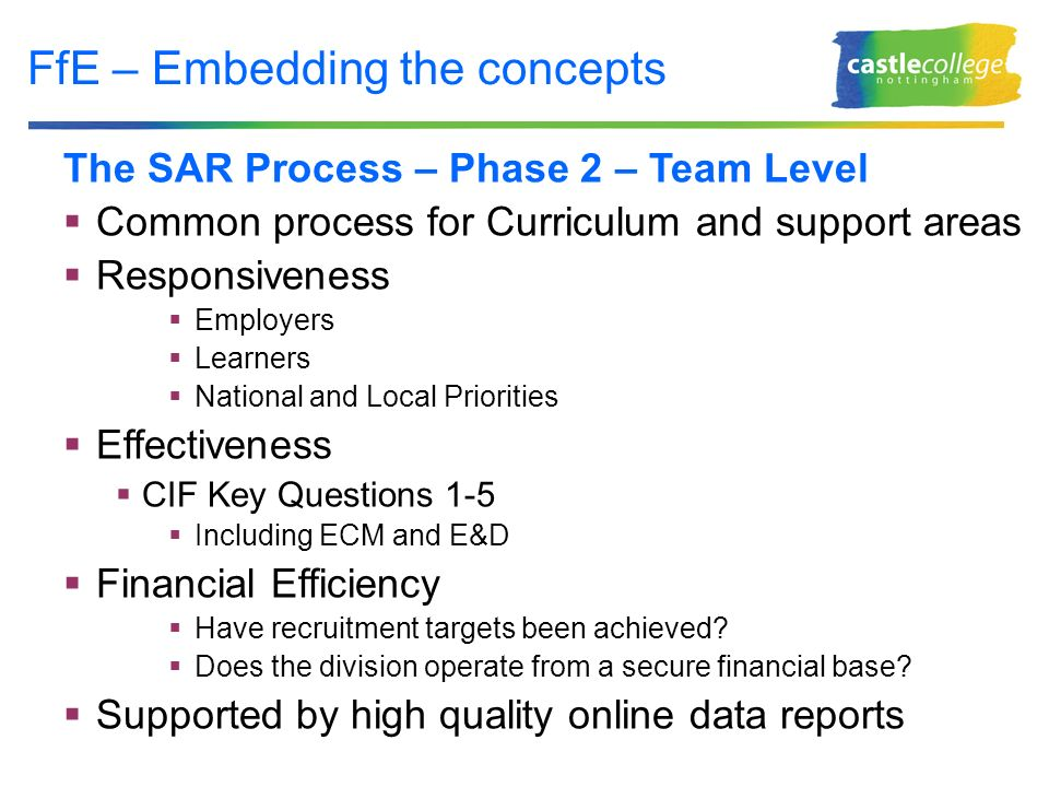 FfE – Embedding the concepts The SAR Process – Phase 2 – Team Level Common process for Curriculum and support areas Responsiveness Employers Learners National and Local Priorities Effectiveness CIF Key Questions 1-5 Including ECM and E&D Financial Efficiency Have recruitment targets been achieved.