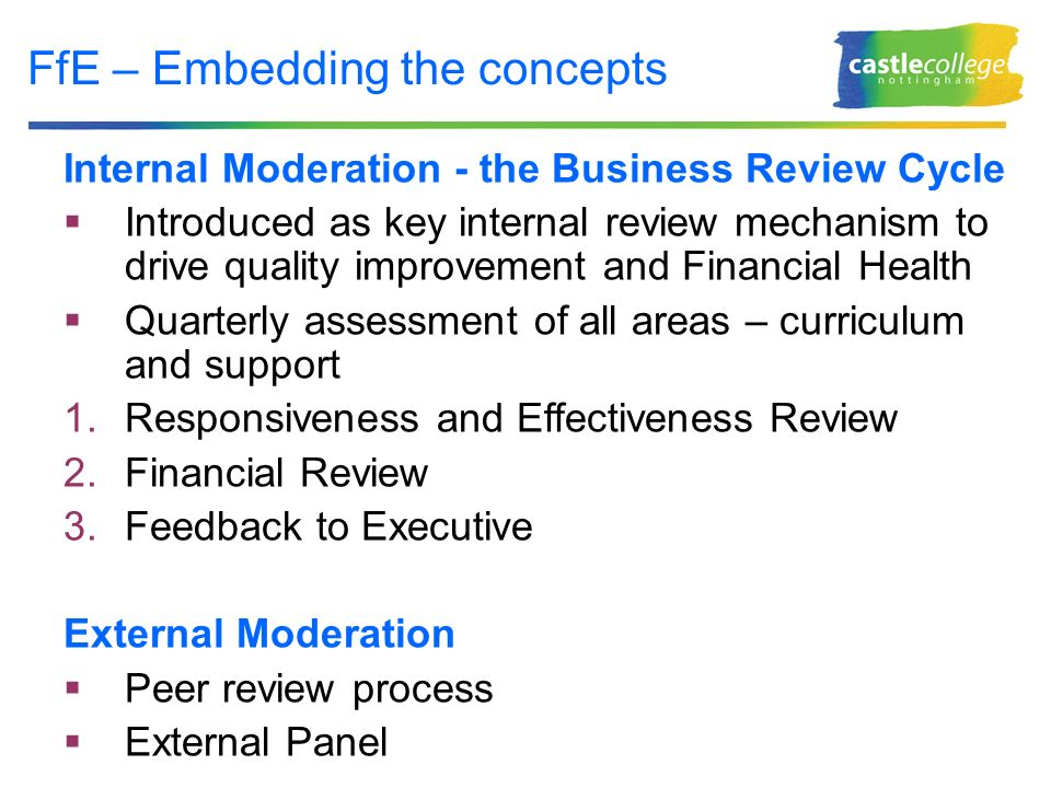 FfE – Embedding the concepts Internal Moderation - the Business Review Cycle Introduced as key internal review mechanism to drive quality improvement and Financial Health Quarterly assessment of all areas – curriculum and support 1.Responsiveness and Effectiveness Review 2.Financial Review 3.Feedback to Executive External Moderation Peer review process External Panel
