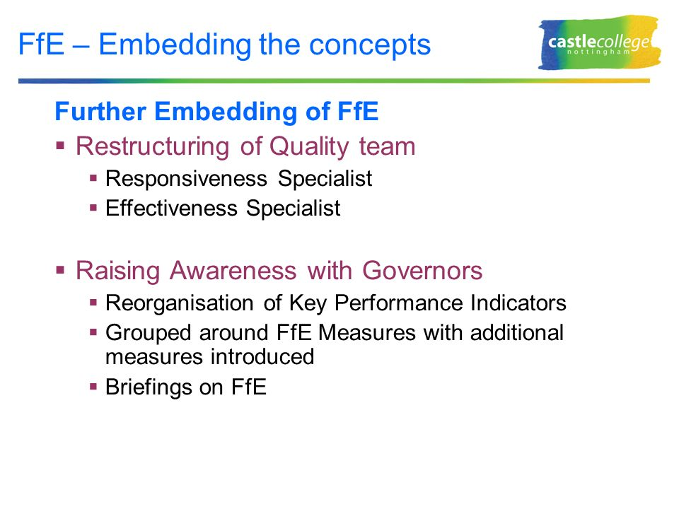 FfE – Embedding the concepts Further Embedding of FfE Restructuring of Quality team Responsiveness Specialist Effectiveness Specialist Raising Awareness with Governors Reorganisation of Key Performance Indicators Grouped around FfE Measures with additional measures introduced Briefings on FfE