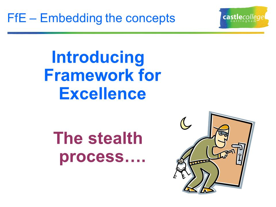 FfE – Embedding the concepts Introducing Framework for Excellence The stealth process….