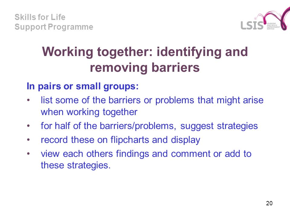 Skills for Life Support Programme Working together: identifying and removing barriers In pairs or small groups: list some of the barriers or problems that might arise when working together for half of the barriers/problems, suggest strategies record these on flipcharts and display view each others findings and comment or add to these strategies.