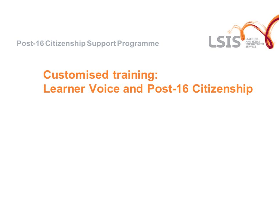 Customised training: Learner Voice and Post-16 Citizenship