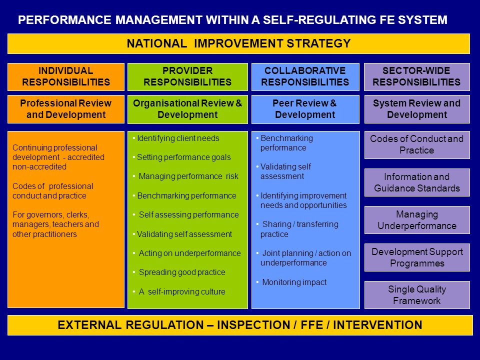 NATIONAL IMPROVEMENT STRATEGY EXTERNAL REGULATION – INSPECTION / FFE / INTERVENTION PROVIDER RESPONSIBILITIES COLLABORATIVE RESPONSIBILITIES SECTOR-WIDE RESPONSIBILITIES Organisational Review & Development Peer Review & Development System Review and Development Codes of Conduct and Practice Managing Underperformance Benchmarking performance Validating self assessment Identifying improvement needs and opportunities Sharing / transferring practice Joint planning / action on underperformance Monitoring impact Identifying client needs Setting performance goals Managing performance risk Benchmarking performance Self assessing performance Validating self assessment Acting on underperformance Spreading good practice A self-improving culture Development Support Programmes Continuing professional development - accredited non-accredited Codes of professional conduct and practice For governors, clerks, managers, teachers and other practitioners INDIVIDUAL RESPONSIBILITIES Professional Review and Development Single Quality Framework PERFORMANCE MANAGEMENT WITHIN A SELF-REGULATING FE SYSTEM Information and Guidance Standards