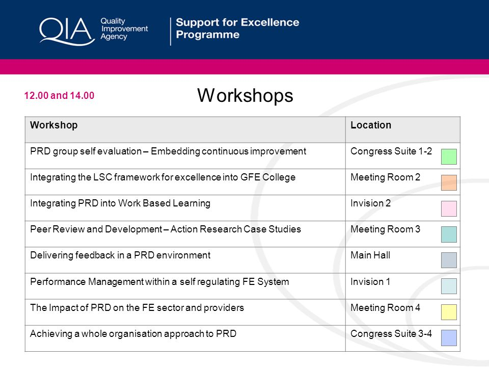 Workshops WorkshopLocation PRD group self evaluation – Embedding continuous improvementCongress Suite 1-2 Integrating the LSC framework for excellence