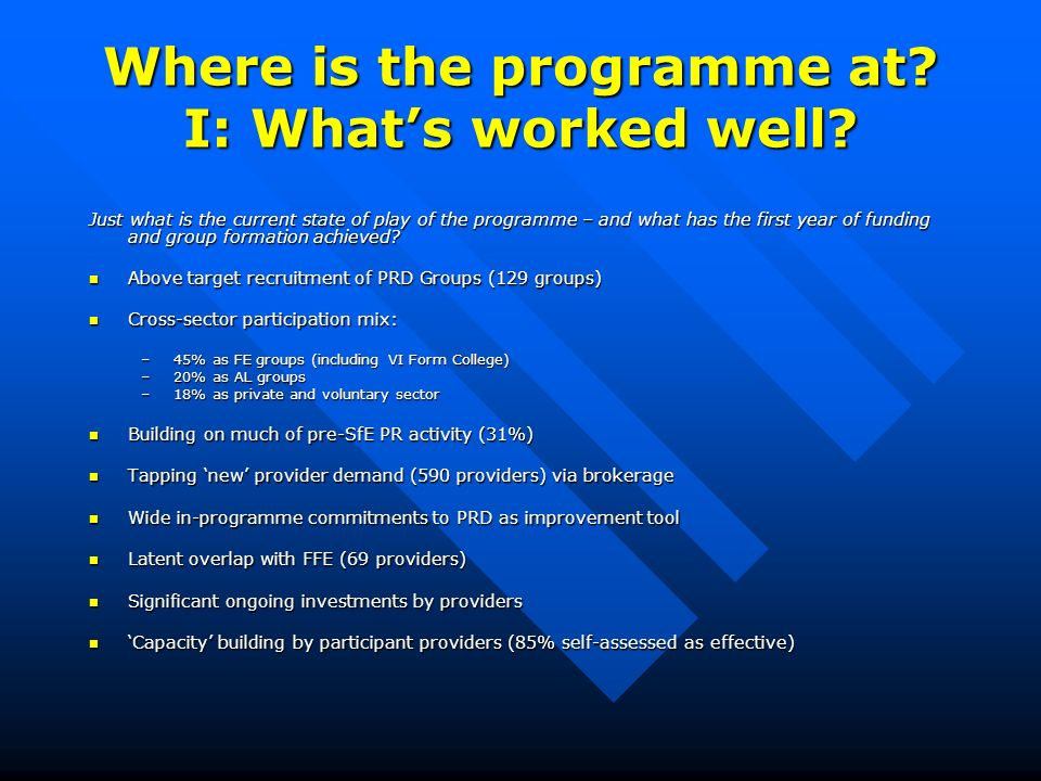 Where is the programme at? I: Whats worked well? Just what is the current state of play of the programme – and what has the first year of funding and
