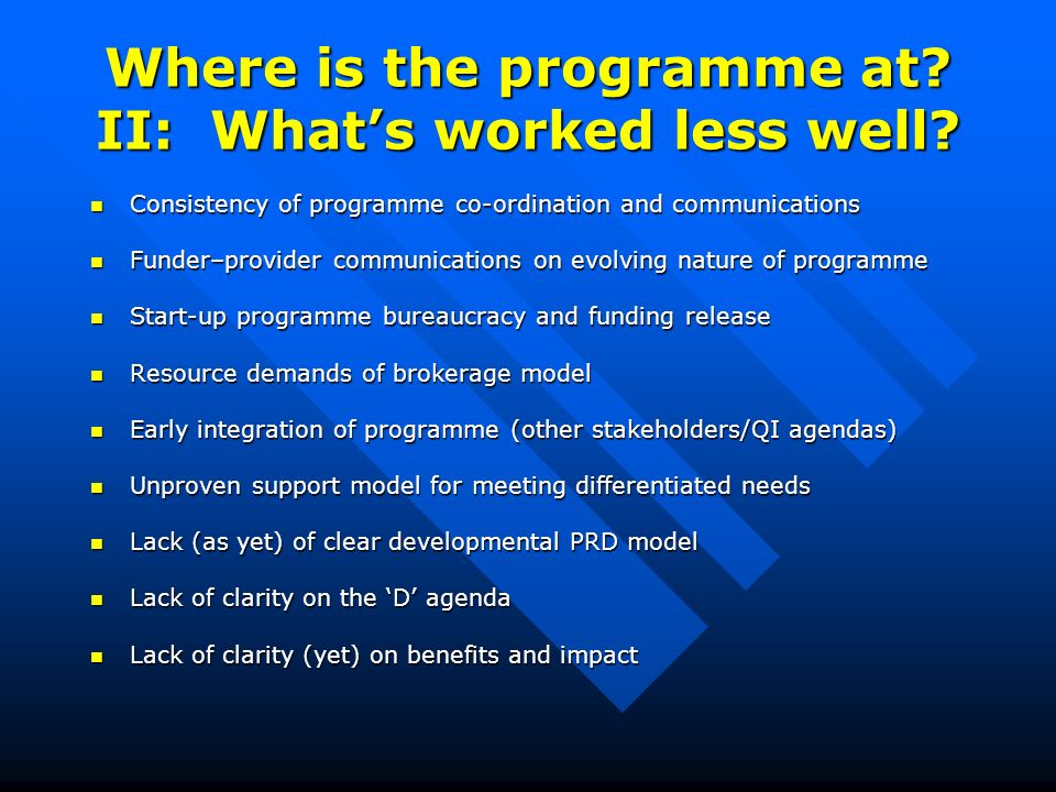 Where is the programme at. II: Whats worked less well.