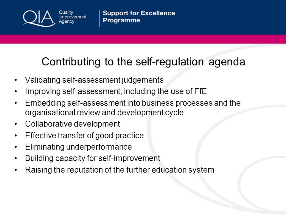 Contributing to the self-regulation agenda Validating self-assessment judgements Improving self-assessment, including the use of FfE Embedding self-assessment into business processes and the organisational review and development cycle Collaborative development Effective transfer of good practice Eliminating underperformance Building capacity for self-improvement Raising the reputation of the further education system