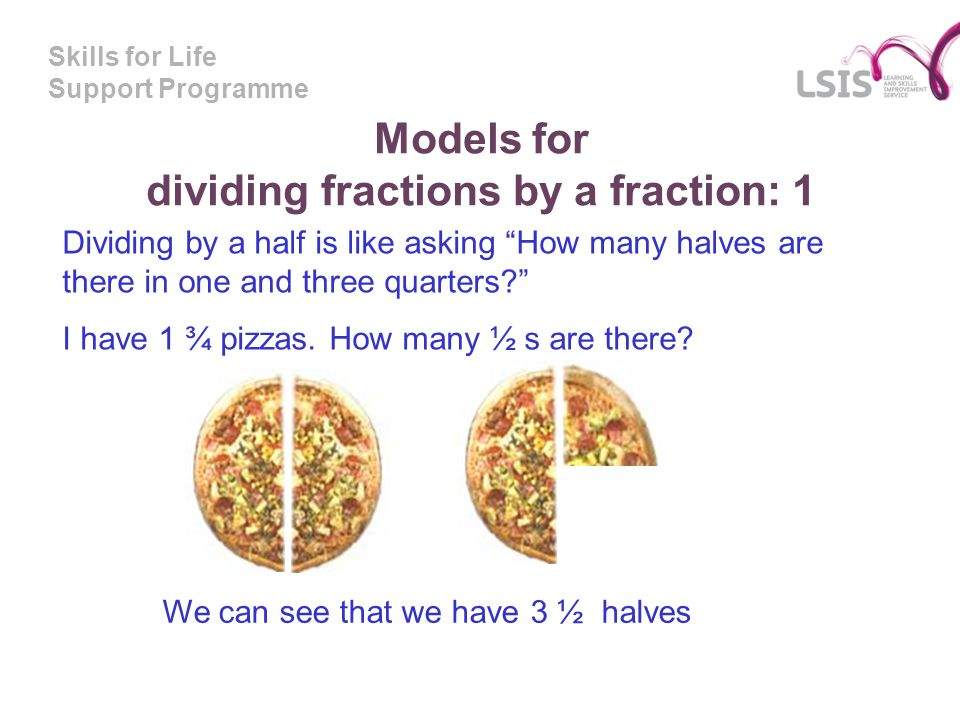 Skills for Life Support Programme Models for dividing fractions by a fraction: 1 Dividing by a half is like asking How many halves are there in one an