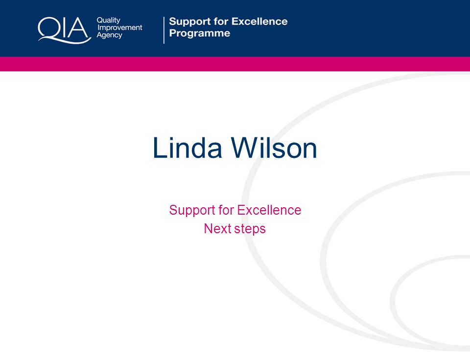 Linda Wilson Support for Excellence Next steps