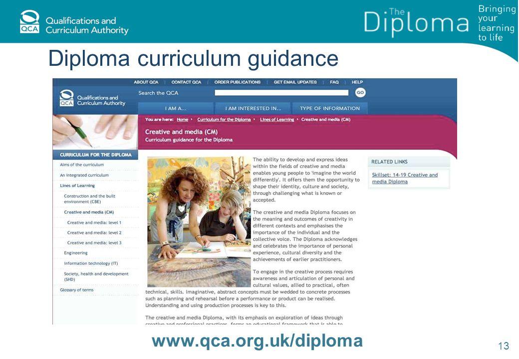 Diploma curriculum guidance 13 www.qca.org.uk/diploma