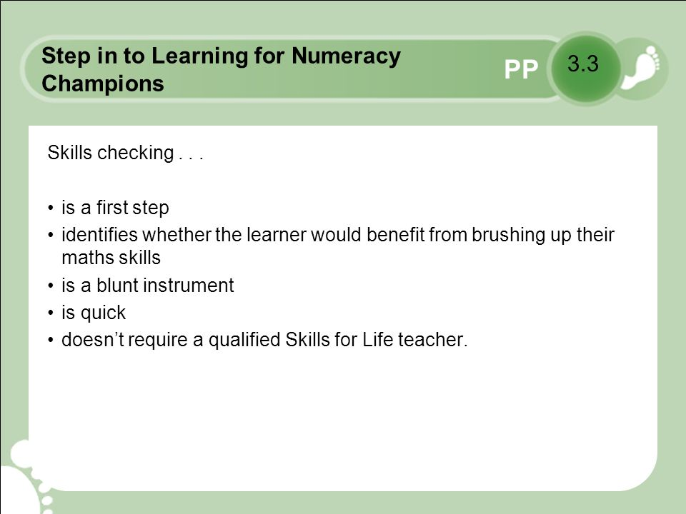 PP Step in to Learning for Numeracy Champions Initial assessment...