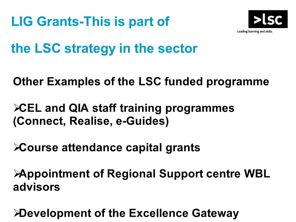 LIG Grants-This is part of the LSC strategy in the sector Other Examples of the LSC funded programme CEL and QIA staff training programmes (Connect, R