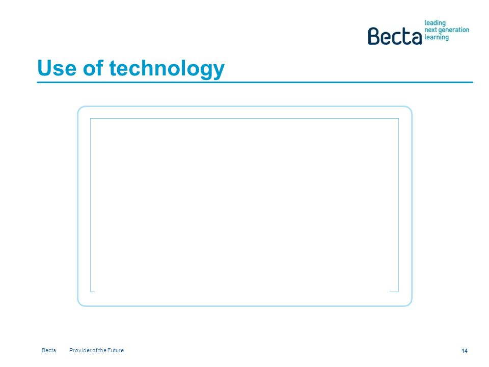 Becta Provider of the Future 14 Use of technology
