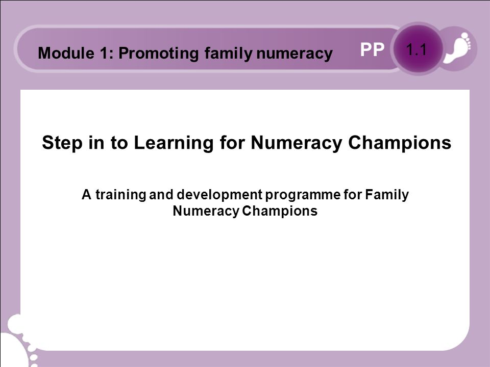 PP Aims To raise awareness of the Skills for Life agenda amongst Numeracy Champions.