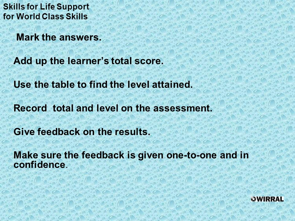 Mark the answers. Add up the learners total score.