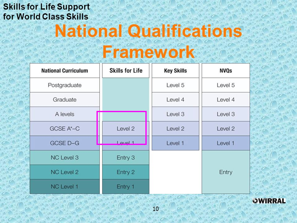 National Qualifications Framework 10 Skills for Life Support for World Class Skills